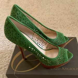 NEW ENZO ANGIOLINI 7.5 green cutout detail pumps